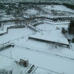 Snow filled moat at Fort Goryokaku.