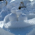 Snow sculptures in Otaru on Saint Valentine's Day.