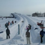 The giant tube slide, a snow slide about 100 meters long.