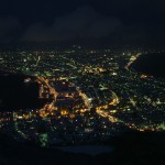 View of Hakodate City from the mountain top at night.
